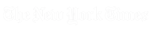 an image of the new york times logo; it is white in colour on a transparent background