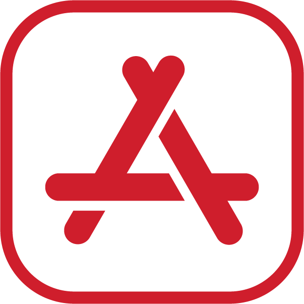 An icon of the apple app store; it is red in colour