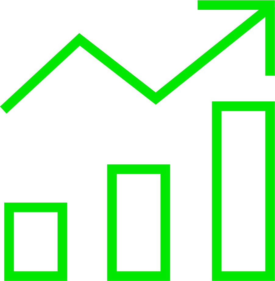 An icon of of a bar graph increasing; it is green in colour
