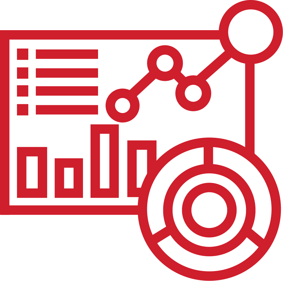 An image of graphic and infographics; it is red in colour