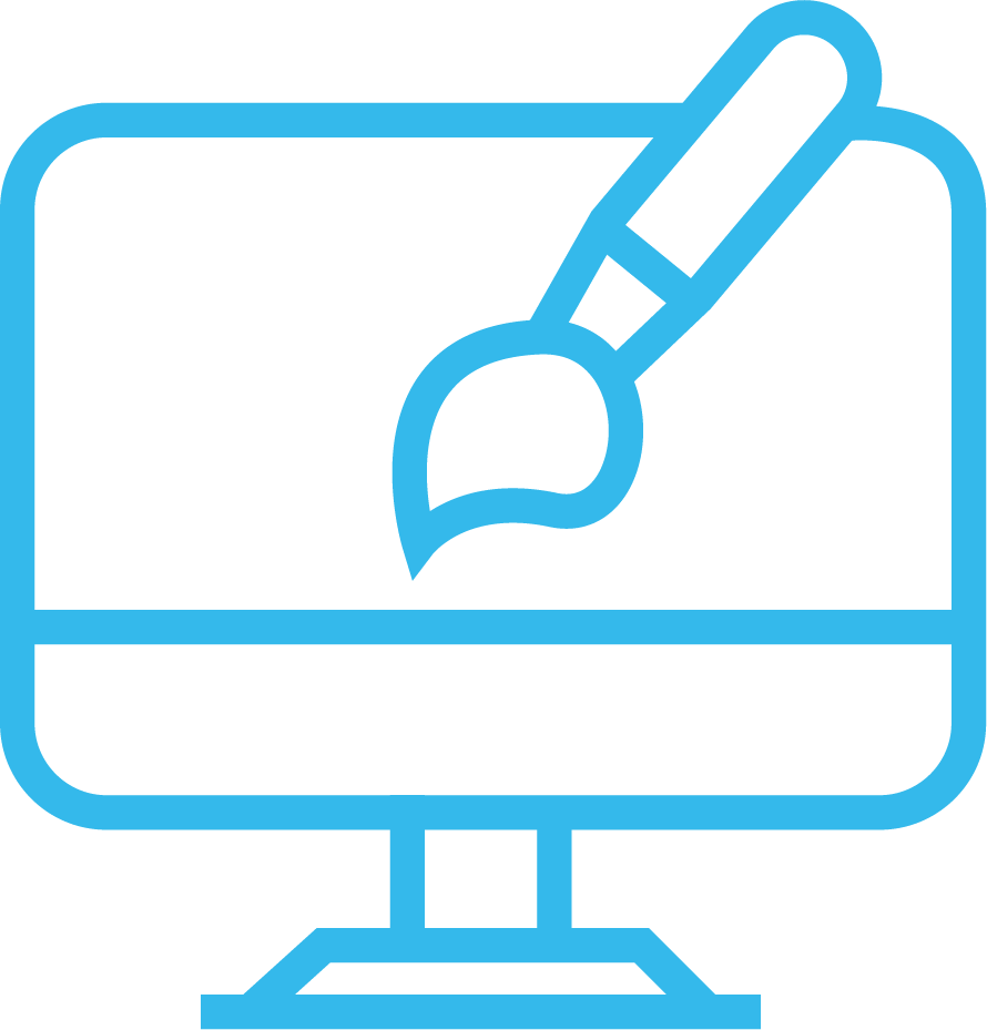 an icon of a desktop computer and a paintbrush; it is blue in colour