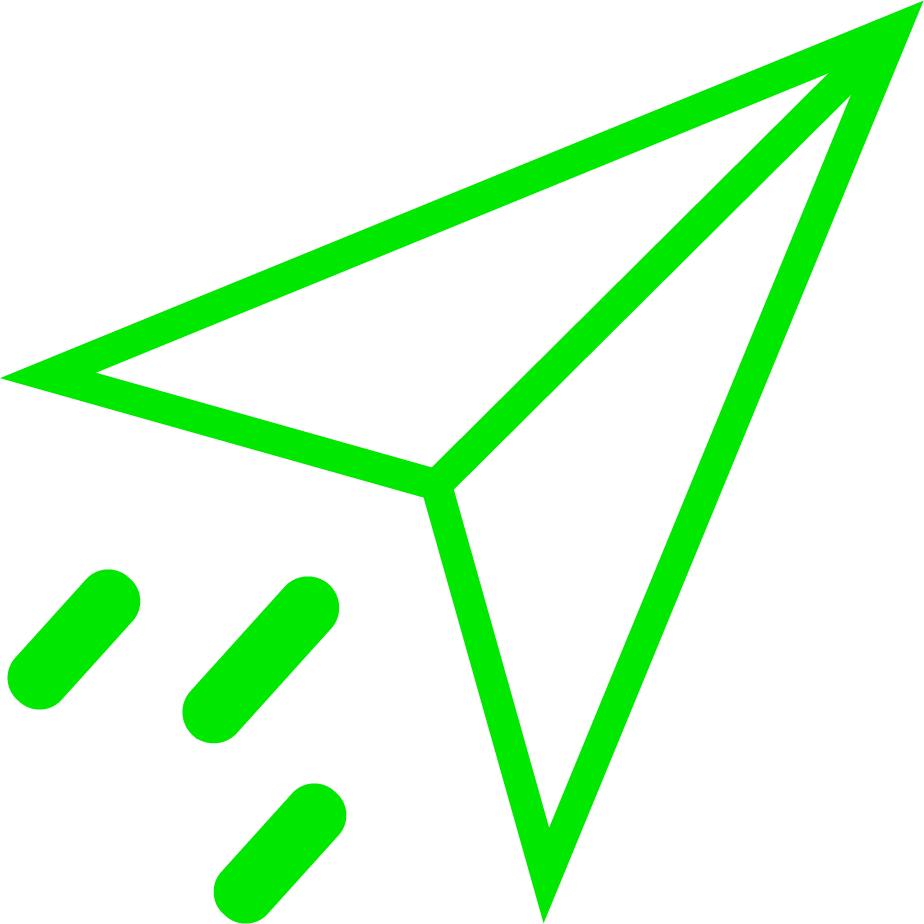An icon of a paper airplane; it is green in colour