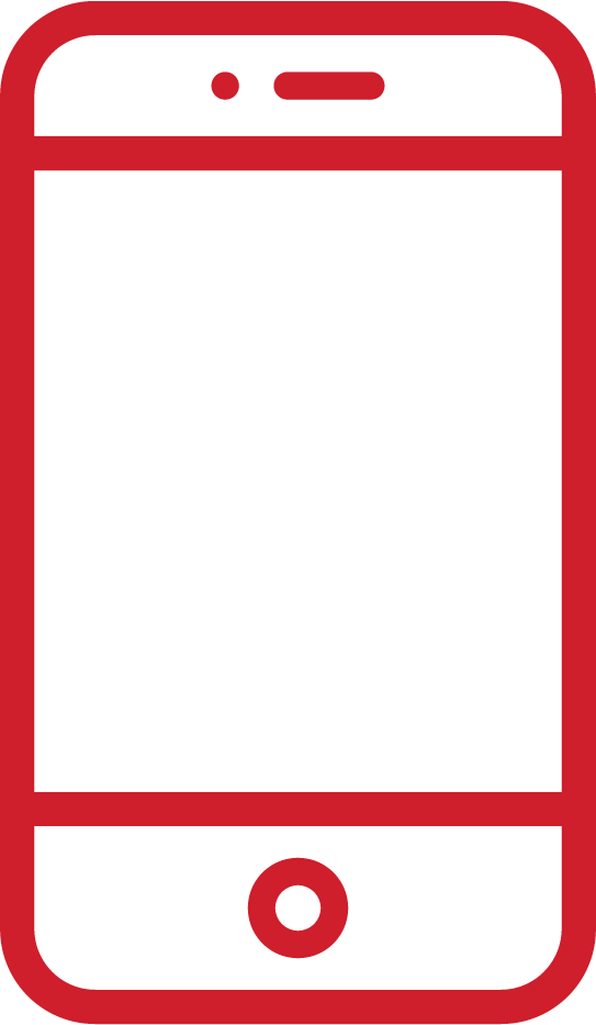 an icon of a smartphone; it is red in colour