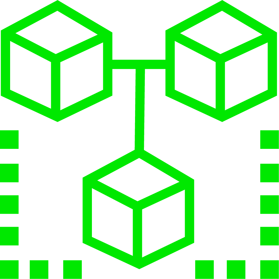 An Icon of 3 cubes, connected by a line; it is green in colour