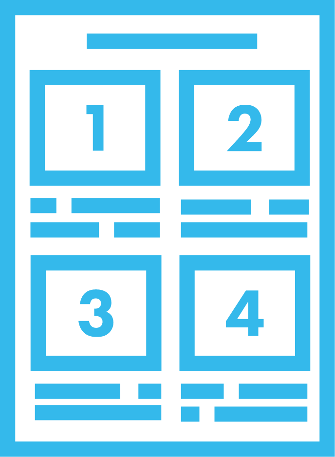An icon of a storyboard; it is blue in colour