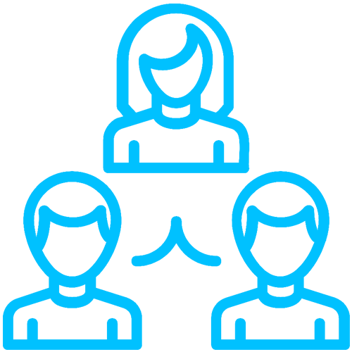 A blue icon of three people, representing teamwork