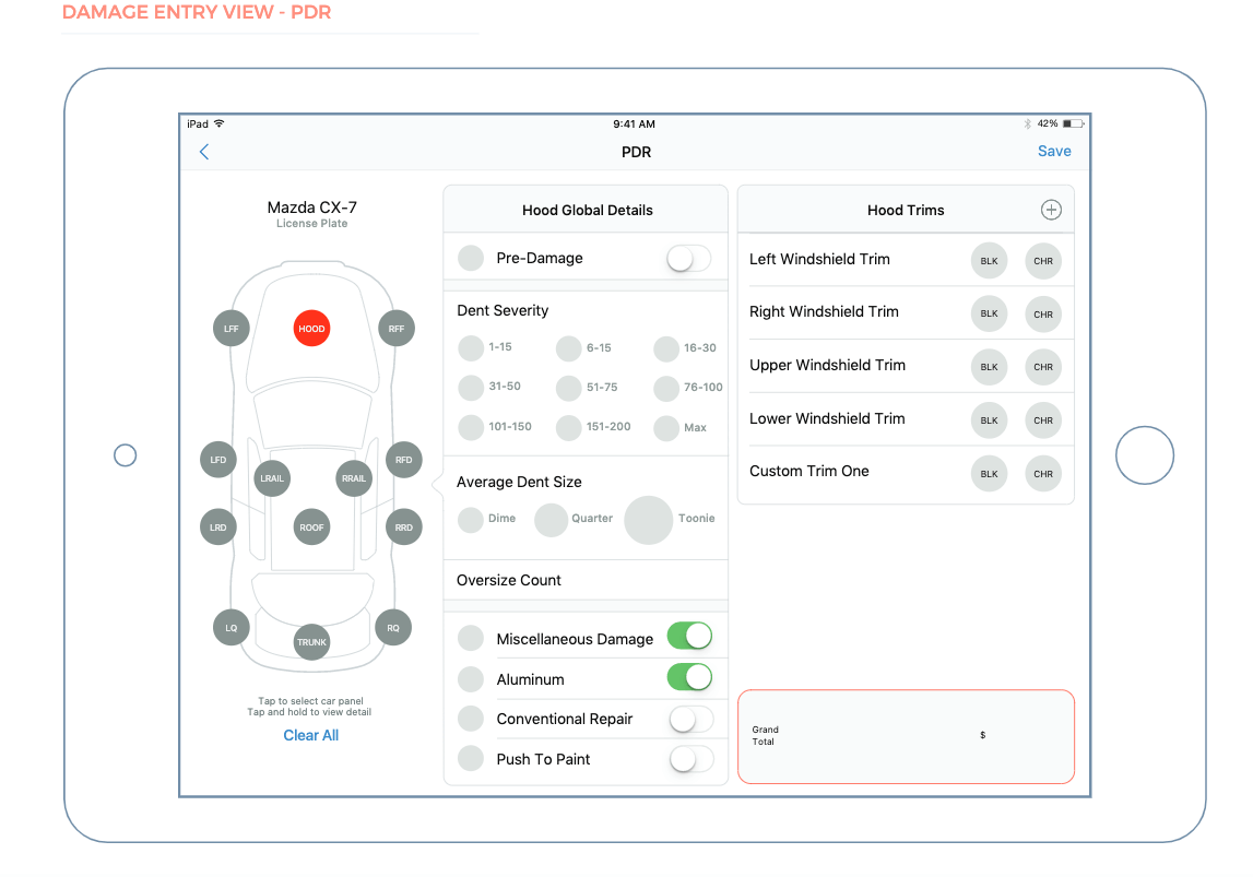 A UI mockup for a car app where users records damages done to their car, and they can receive an estimate for repairs