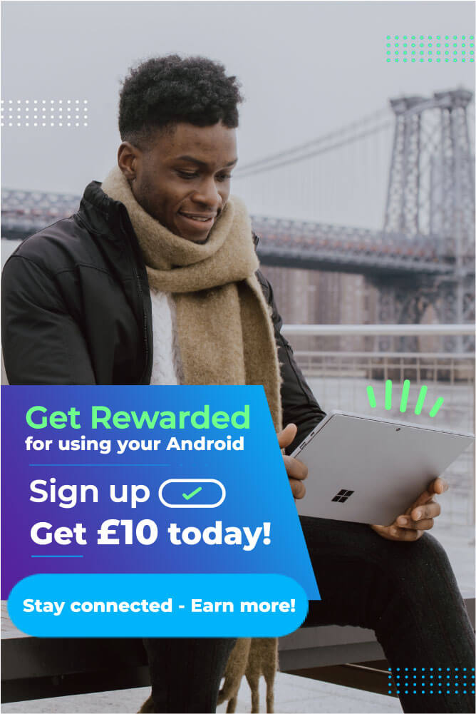 A poster of a man looks down at his ipad happily, while the text on the poster advertises the services of the app being advertised