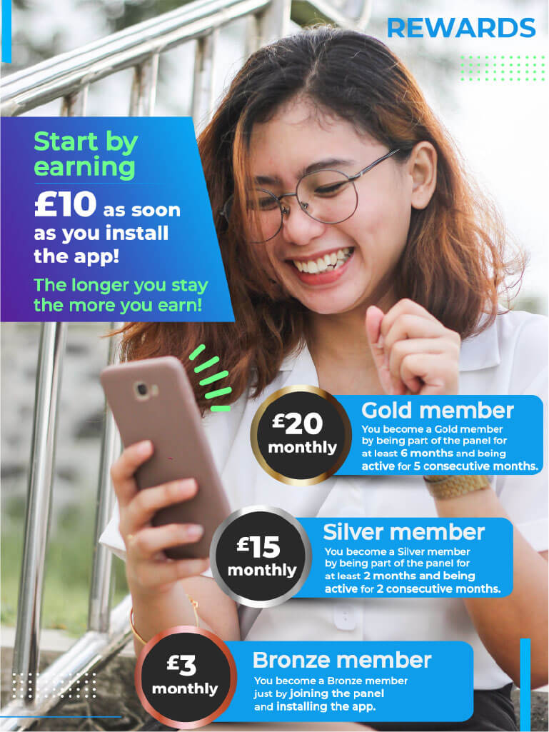 woman looks down at her phone happily, while the graphics on the photo advertises the services of the app the poster is advertising for