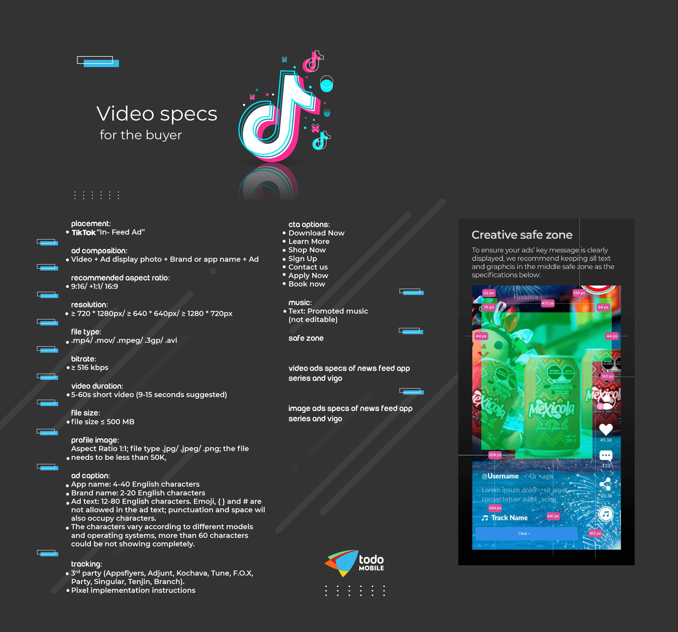 an infographic made by todoMobile to explain best practices for tiktok